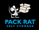 Pack Rat Self Storage Logo featuring a cartoon rat holding a box